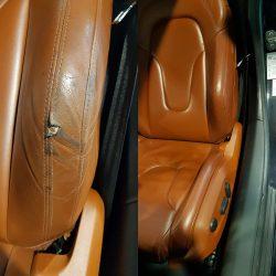 L'image montre une rénovation de siège automobile. il s'agit d'une rénovation de cuir marron.